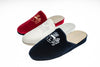 Stephanie, velvet, line loup, mule, slipper, navy, red, ivory, embroidery of logo, women