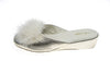 Line loup, mule, feathers, light gold, slipper, Marguerite, women, calfskin