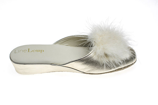 light gold, women, slipper , Line loup, feathers, Marguerite, mule, calfskin