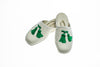 Line Loup, slippers, children, velvet, Clara, ivory, customization, embroidery tassels in green