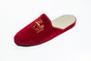 Indoor shoe, embroidery, velvet, Line Loup, red, Stephanie