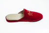Stephanie, slipper, velvet, Line Loup, embroidery, red