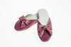 slipper, velvet, Nicole, antique pink, bow, Line Loup