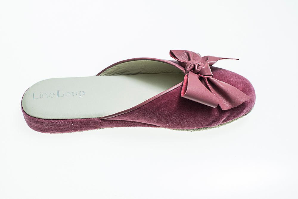 slipper, Line Loup, Nicole, antique pink, bow, velvet