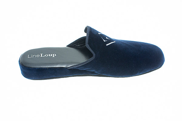 Embroidery logo, Line Loup, Jacques-Robert, slipper, navy, velvet, men