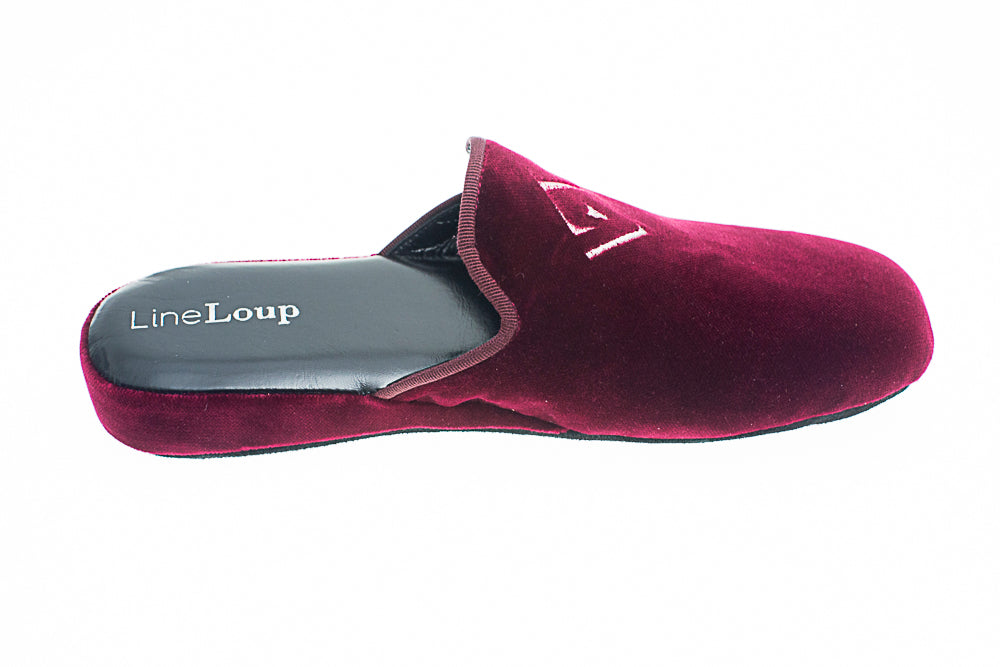 Embroidery logo, Line Loup, Jacques-Robert, slipper, bordeaux, velvet, men