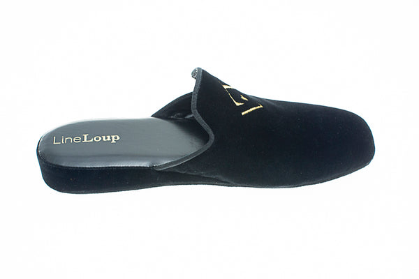 indoor slipper, black, velvet, men, Line Loup, embroidery logo, Jacques-Robert