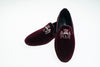 Line Loup, Robert-André, bordeaux, velvet, embroidery logo, loafer, slipper, indoor shoe, men