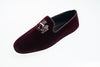 men, velvet, slipper, bordeaux, loafer, Line Loup, indoor shoe, embroidery logo, Robert-André