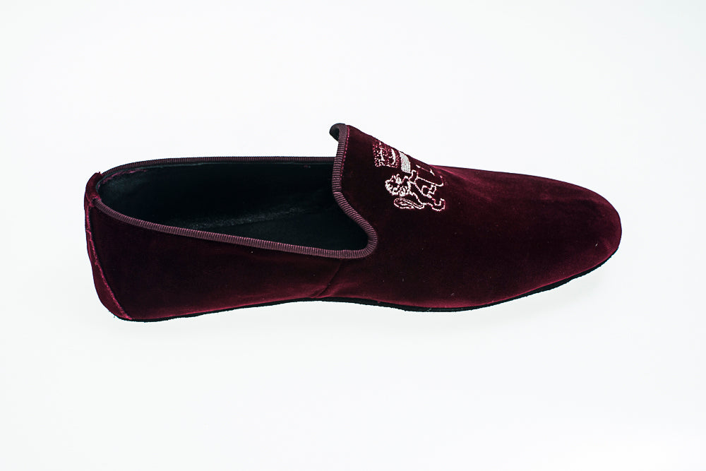 Robert-André, embroidery logo, men, slipper, bordeaux, loafer, Line Loup, indoor shoe, velvet