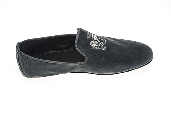 Line Loup, Embroidery, slippers, men, velvet, grey, loafer, Robert-André