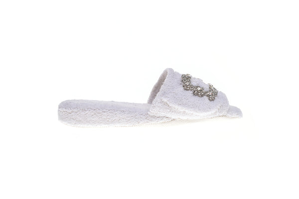 Line Loup, Emmanuelle, women, mule, toweling, white, cristal buckle, In & Out, created in France, handmade in Italy