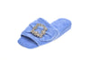 Emmanuelle, mule for women in blue toweling with cristal buckle - diagonal view