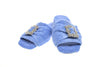 Emmanuelle, mule for women in blue toweling with cristal buckle - pair