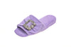 Emmanuelle, mule for women in lilac toweling with cristal buckle - diagonal view
