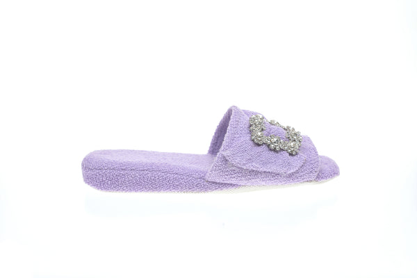 women, Line Loup, toweling, Emmanuelle, lilac, mule, In & Out, cristal buckle, handmade in Italy, created in France