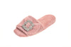 Emmanuelle, mule for women in salmon pink toweling with cristal buckle - diagonal view