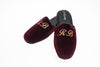 Customization, embroidery initials, Line Loup, Forever Young, slipper, bordeaux, velvet, men