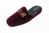 indoor slipper, embroidery initials, customization, bordeaux, velvet, men, Line Loup, Forever Young