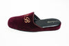 men, indoor shoe, Forever young, customization, Line Loup, velvet, embroidery initials, bordeaux