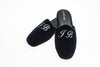 indoor slipper, embroidery initials silver, customization, navy, velvet, men, Line Loup, Forever Young