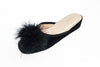 indoor slipper, feathers, black, leather, women, Line Loup, Marguerite