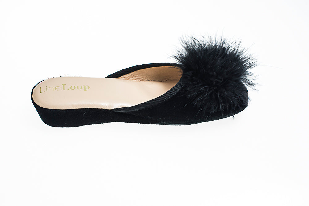 Women, Line Loup, Marguerite, slipper, black, feather, leather