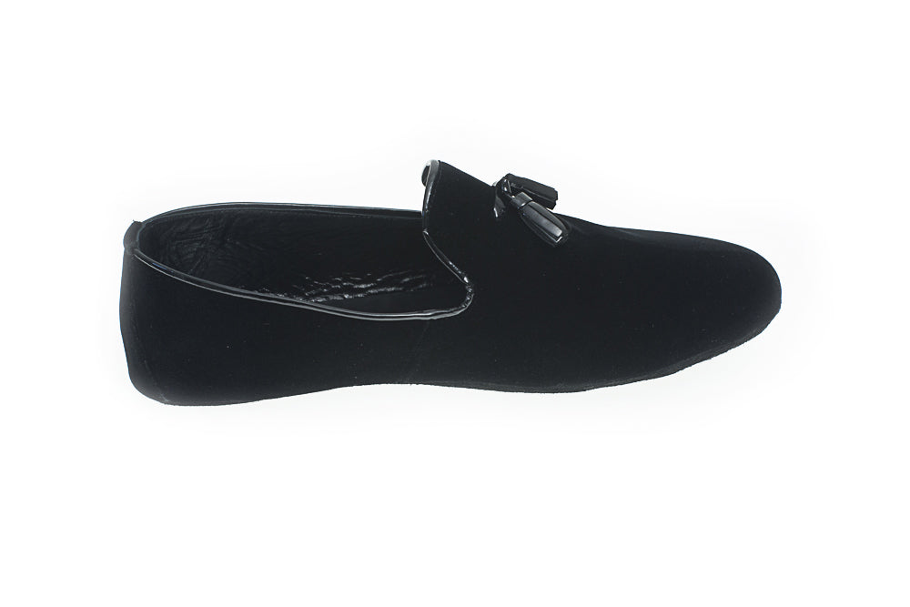 tassels, indoor slipper, black, velvet, men, Paul, Line Loup