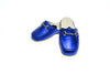Charlie, line loup, calfskin, metallic blue, children, mors, mule, slipper