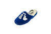 children, Line Loup, Gabriel, embroidery in silver, tassels, mule, royal blue, slippers