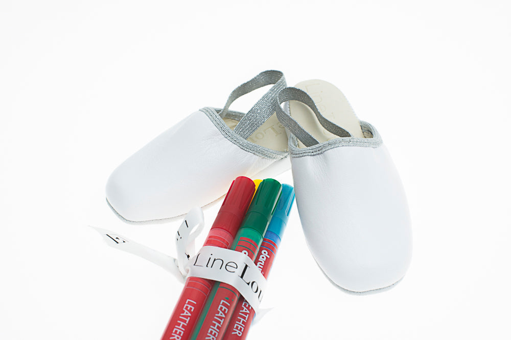 kids, mule, Victor, white, leather, customization, felt pens, Line Loup, Personal Touch Collection