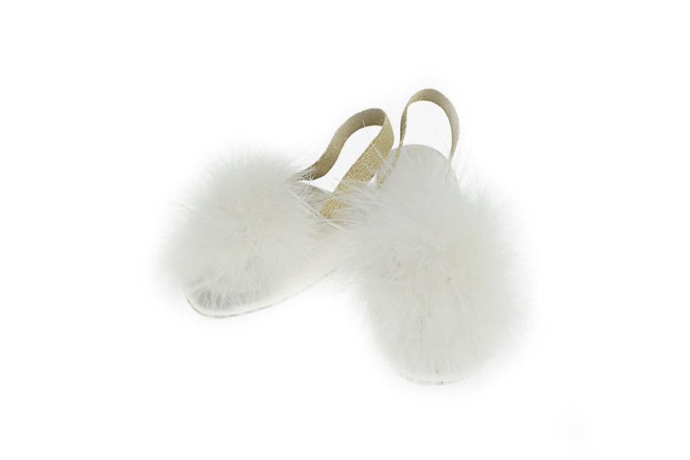 Line Loup, slippers, plumes, cuir, enfants, Vivienne, doré, Collection Intemporelle