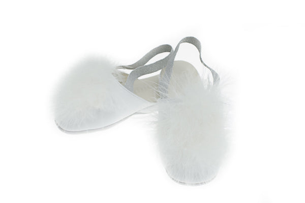 Line Loup, slippers, plumes, cuir, enfants, Vivienne, ivoire, Collection Intemporelle