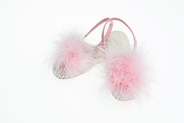 rose, slippers, plumes, cuir, enfants, Vivienne, Line Loup, Collection Intemporelle