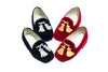 Line loup, children, Maximilien, blue, red, loafer, slipper, silver and gold embroidery, velvet, tassels