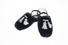 Line Loup, slippers, kids, velvet, Clara in navy, embroidery tassels in silver, customization, Personal Touch Collection