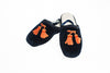 Line Loup, slippers, kids, velvet, Clara in navy, embroidery tassels in orange, customization, Personal Touch Collection