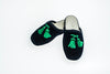Line Loup, slippers, kids, velvet, Clara in navy, embroidery tassels in green, customization, Personal Touch Collection