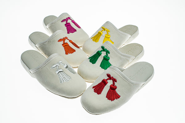 Kids, mules, slippers, customization, Clara, ivory, embroidery tassels, Line Loup, velvet, personal touch collection