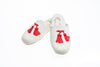 Line Loup, slippers, children, velvet, Clara, ivory, customization, embroidery tassels in red