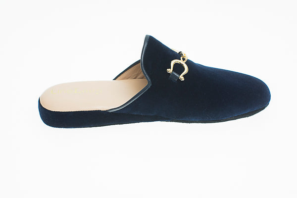 Jacqueline, mule for women in blue velvet with golden bit - right side view