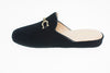Jacqueline, mule for women in black velvet with golden bit - left side view