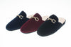 Jacqueline, mule for women in black, bordeaux or blue velvet with golden bit