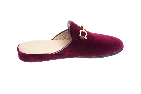 Jacqueline, mule for women in bordeaux velvet with golden bit - right side view