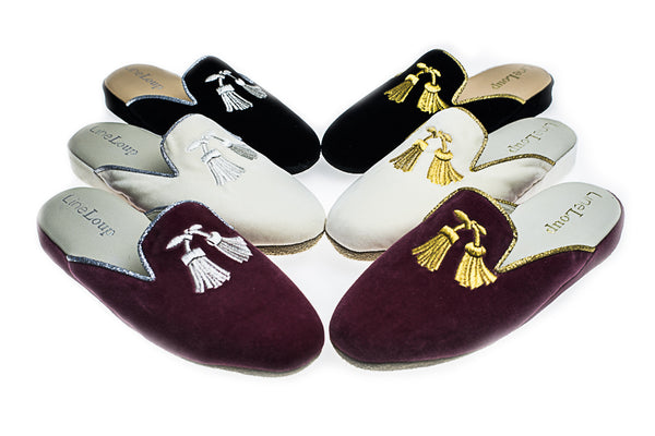 Florence, mule for women in light pink, ivory or black velvet with embroidered tassels in gold or silver