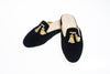 Florence, mule for women in black velvet with embroidered tassels in gold