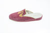 Florence, mule for women in light pink velvet with embroidered tassels in gold - left side view