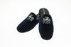 slippers, Men, mule, customization, Jason, navy, embroidery initiales, Line Loup, velvet, Personal Touch collection