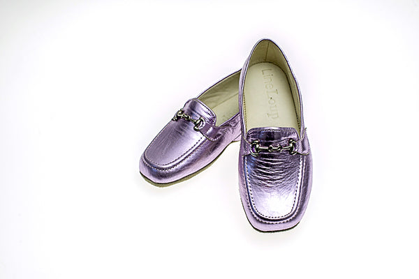 calfskin, children, Jeanne, metallic pink, loafer, slipper, mors, Line Loup, Timeless Collection