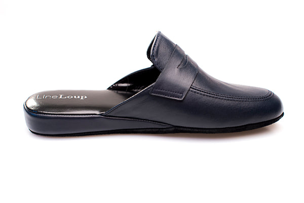 men, Line Loup, Jacques, slipper, navy, calfskin